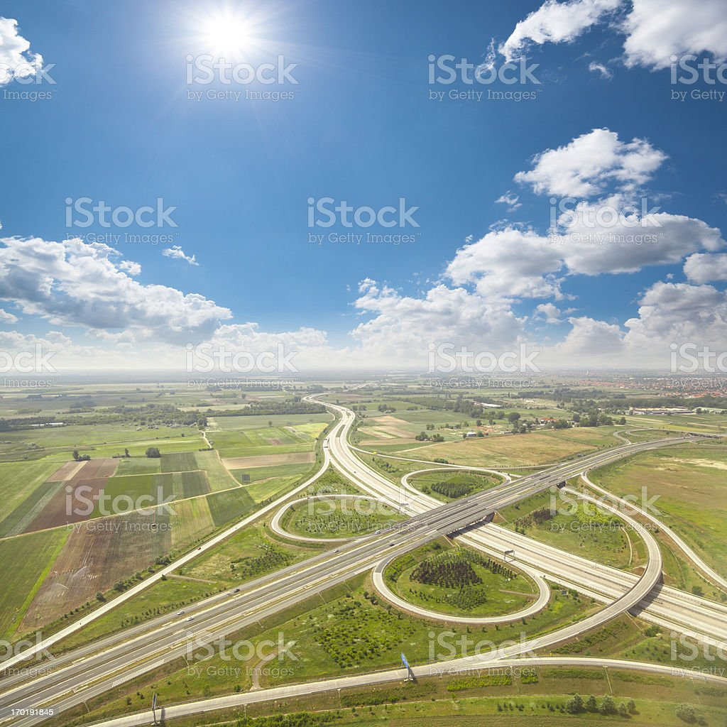Aerial view of highway in Hungary royalty-free stock photo