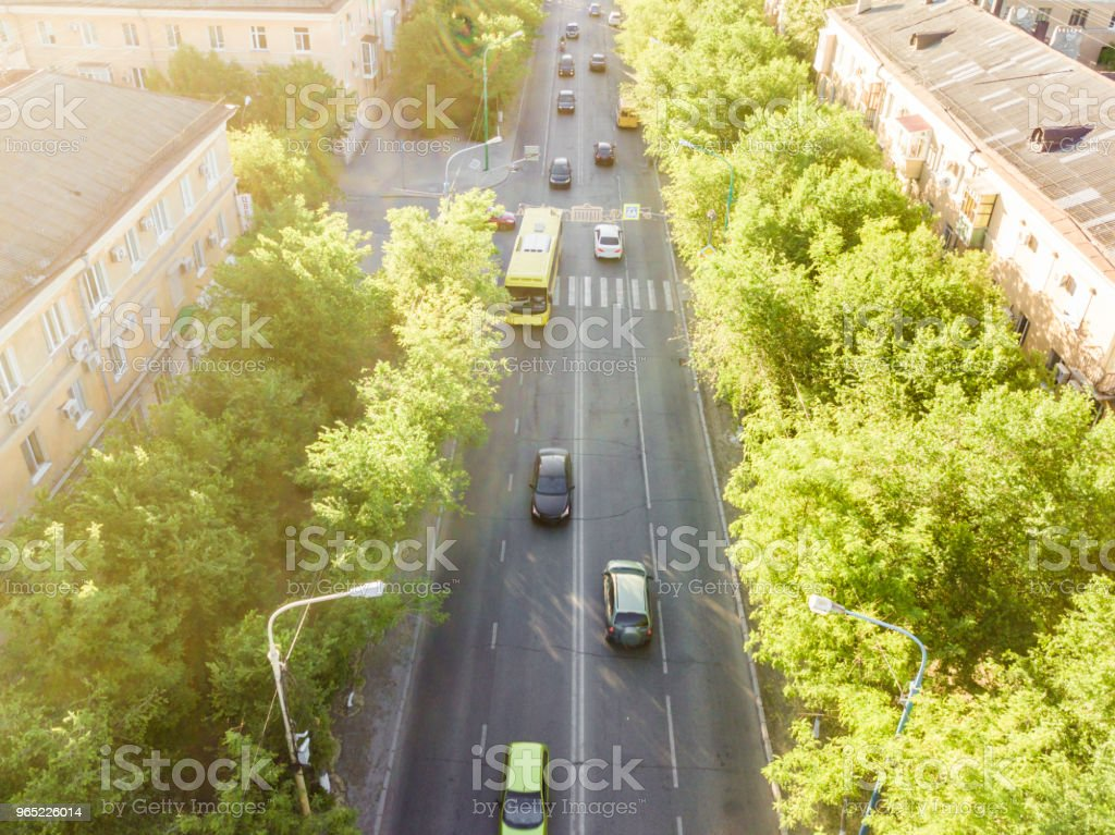 aerial view of highway in the city between the buildings royalty-free stock photo