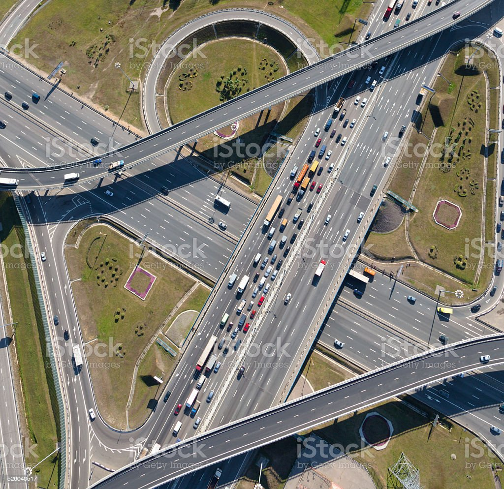 Aerial view of highway interchange of a city stock photo