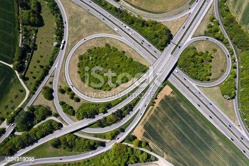 Highway interchange viewed from above.
