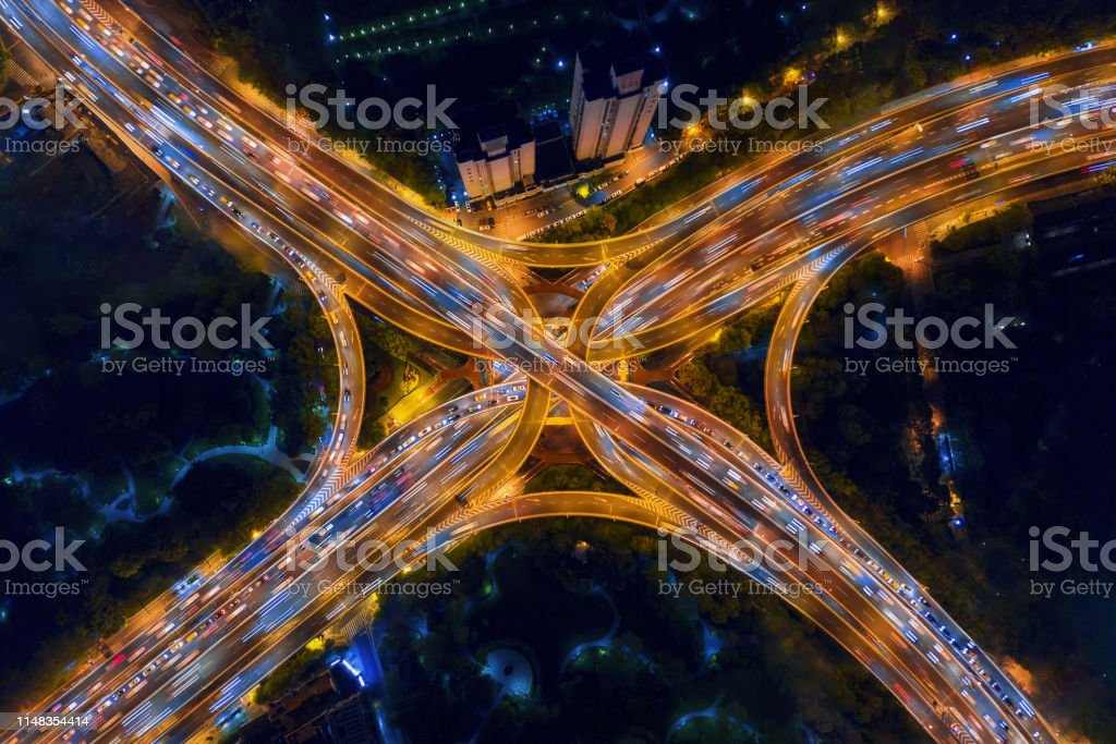 Aerial View Of Highway Junctions Shape Letter X Cross At