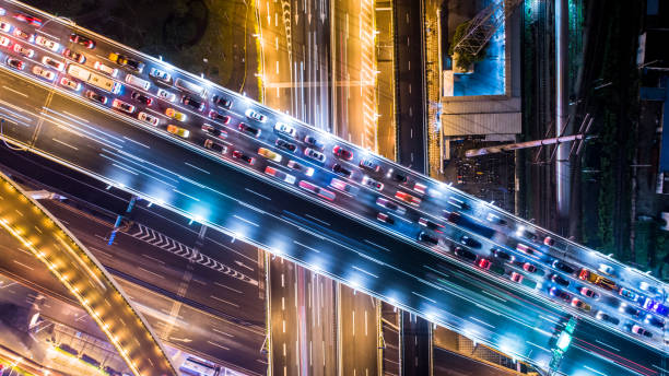 aerial view of highway Multiple Lane Highway, Overpass, Elevated Road, Road, Road Intersection overpass road stock pictures, royalty-free photos & images
