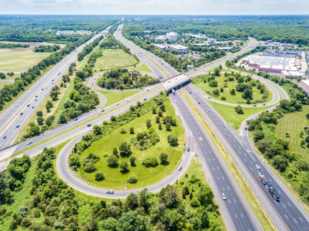 Aerial view of highway stock photo