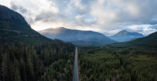 Aerial View of Highway Aerial panoramic drone view of a scenic highway by the beautiful Canadian Landscape covered in clouds and fog. Taken in Vancouver Island, British Columbia, Canada. vancouver island stock pictures, royalty-free photos & images