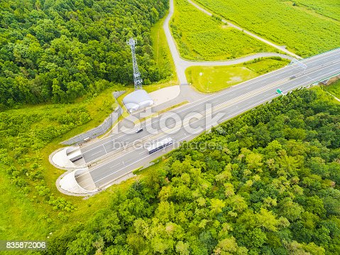 istock Aerial view of highway tunnel. 835872006