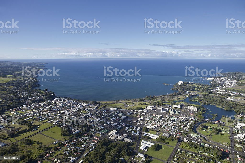 Aerial View Of Hilo Hawaii royalty-free stock photo