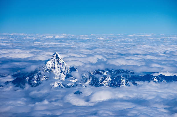 aerial view of himalaya - nepal tibet stock-fotos und bilder