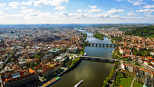 Aerial View Of Historic Old Town Gothic Prague Cityscape In Czechia Czech Republic