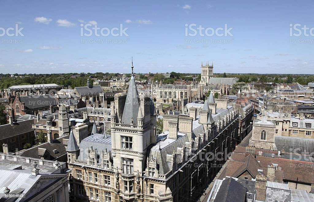 Aerial view of historical buildings, Cambridge, UK royalty-free stock photo