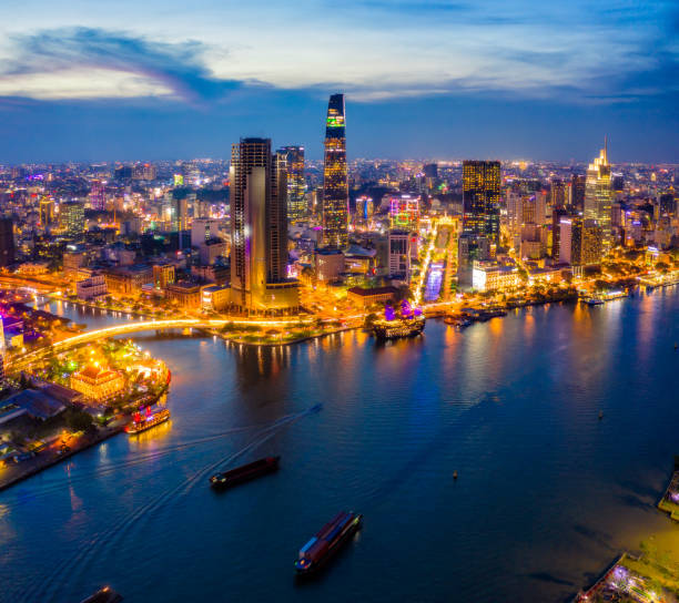 Aerial view of Ho Chi Minh City skyline at sunset