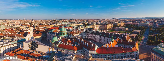 Aerial view of Hofburg complex in Vienna Austria during sunset