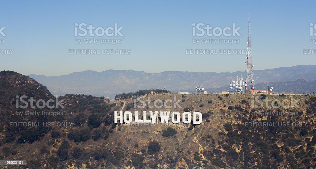 Aerial view of Hollwood landmark sign Los Angeles royalty-free stock photo