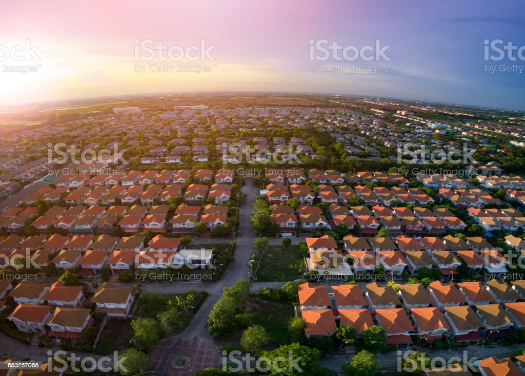 aerial view of home village in bangkok thailand stock photo