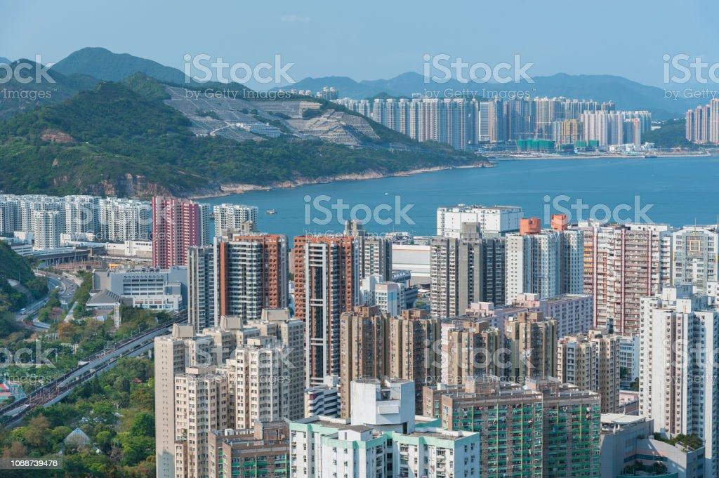 Luftaufnahme von Hong Kong city – Foto
