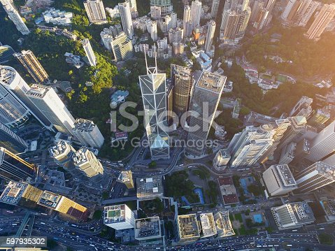 Aerial view of Hong Kong central, downtown district.