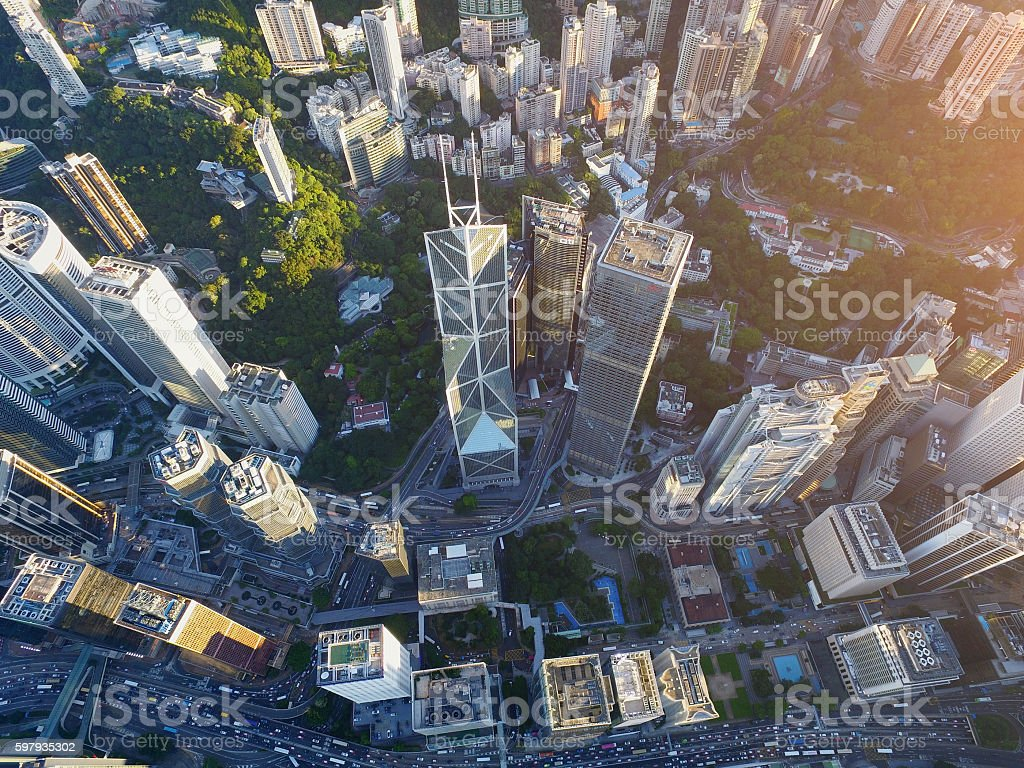 Aerial view of Hong Kong Downtown District stock photo