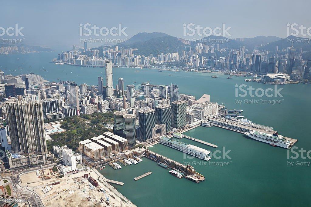 Aerial view of Hong Kong royalty-free stock photo