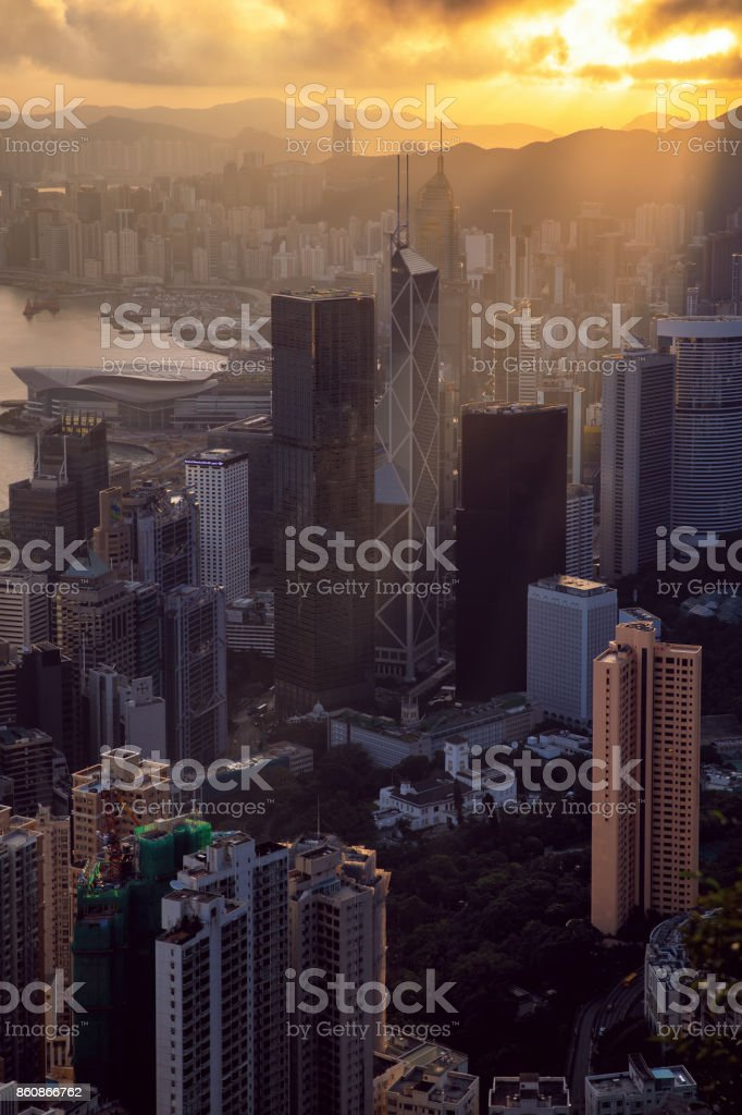 Aerial view of Hong Kong,Victoria harbour in sunrise stock photo