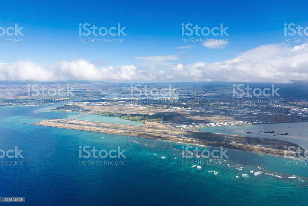 Aerial view of Honolulu Airport, HNL, Hawaii stock photo