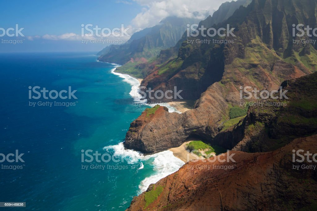 Aerial view of Honopu Arch, Na Pali Coast, Hawaii stock photo