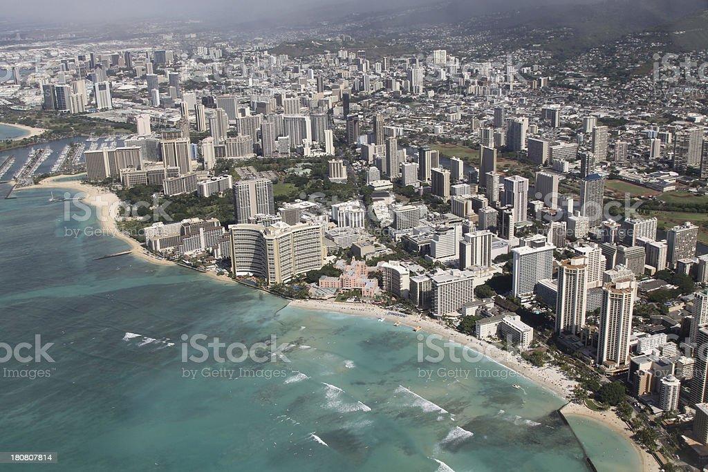 Aerial View Of Honoulu And Waikiki Beach royalty-free stock photo