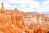 Aerial view of hoodoos orange rock formations at Bryce Canyon National Park in Utah Queens Garden Navajo Loop trail