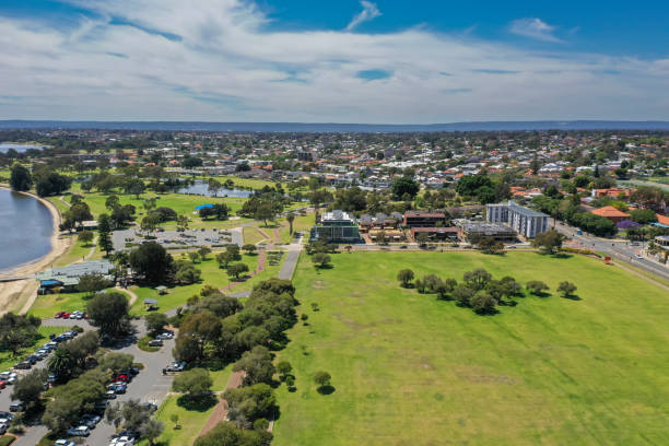 Aerial view of houses and a lake from Sir James Mitchell Park in Perth Western Australia stock photo