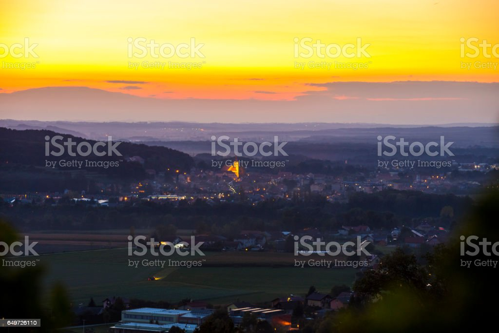 Aerial view of houses and vineyard during sunset stock photo