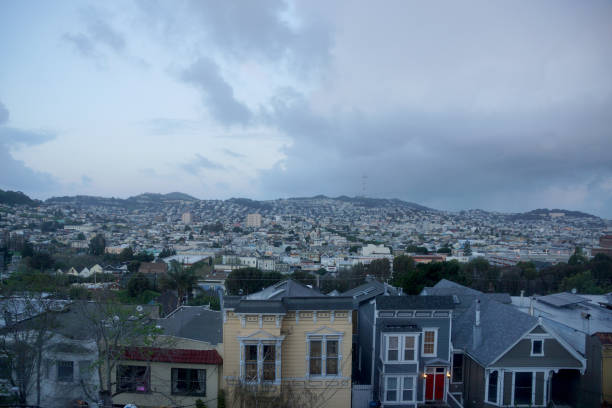 Aerial view of Houses, Cars. Cityscape, streets, and mountians of San Francisco stock photo