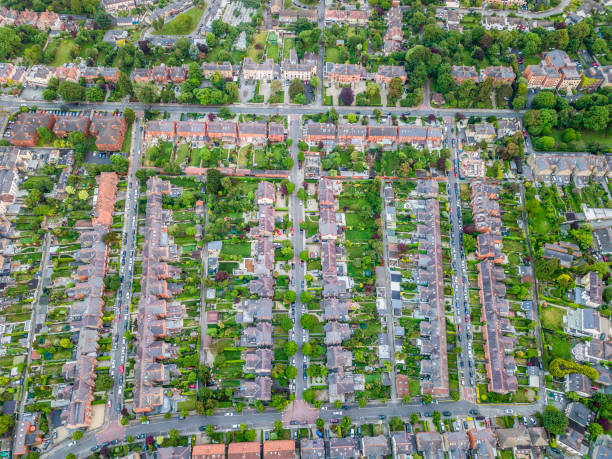 Aerial view of houses, Dublin, Ireland. stock photo