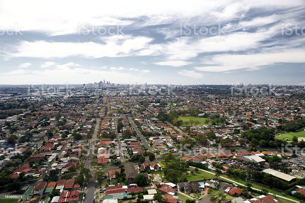 Aerial view of houses in a suburban area stock photo