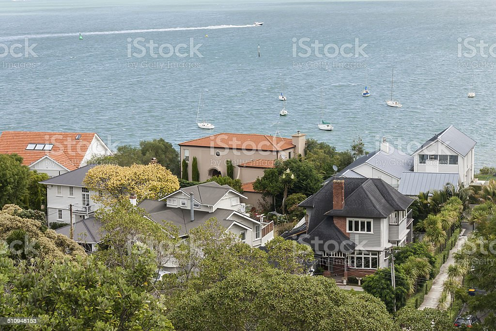aerial view of houses in Devonport stock photo