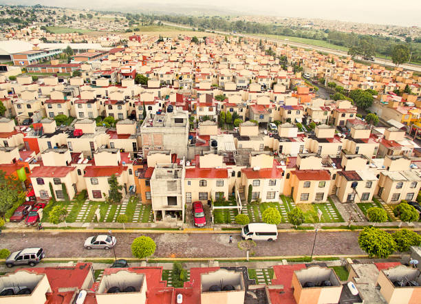 aerial view of houses in mexico - urban sprawl stock photos and pictures