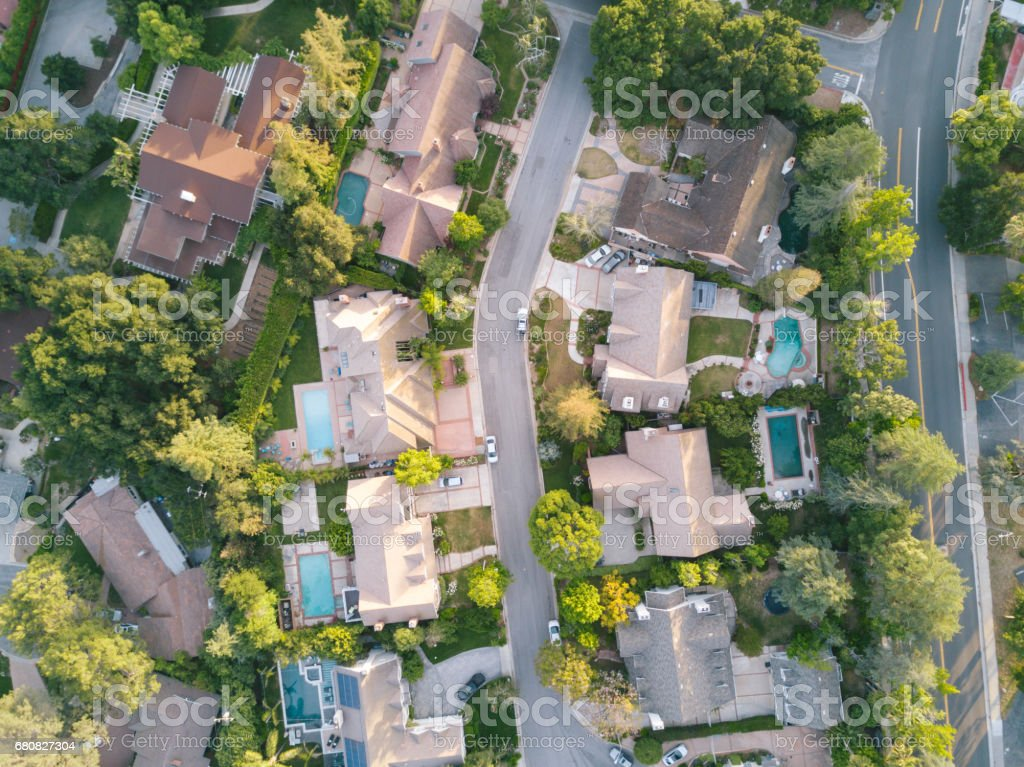 Aerial View of Houses stock photo