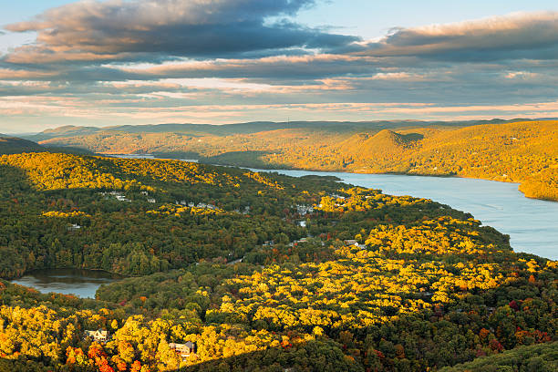 Aerial view of Hudson Valley Hudson Valley and Fort Montgomery, NY viewed from Bear Mountain on a sunny autumn afternoon. hudson river stock pictures, royalty-free photos & images