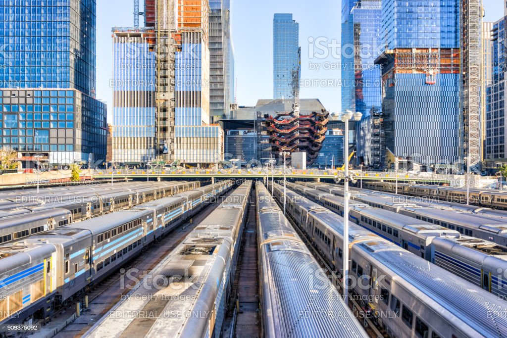 Aerial view of Hudson Yards train depot, building development, High Line, NYC stock photo