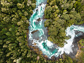 Aerial view of Huilo Huilo river near to Saltos del Petrohue in southern Chile