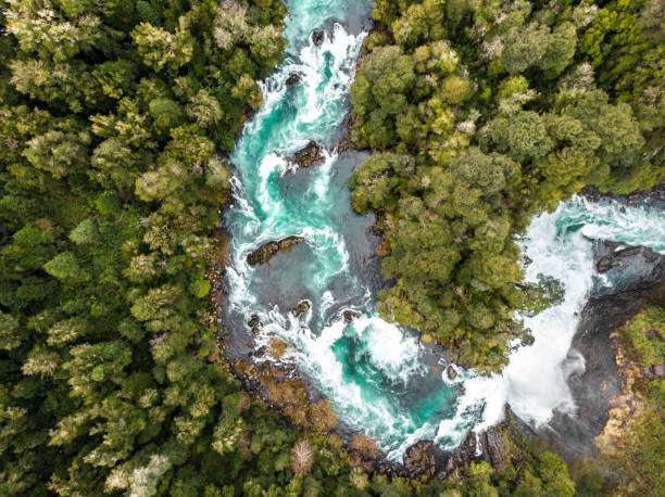 Aerial view of Huilo Huilo river in southern Chile Aerial view of Huilo Huilo river near to Saltos del Petrohue in southern Chile river stock pictures, royalty-free photos & images