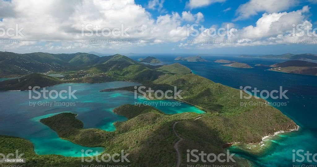 aerial view of Hurricane Hole and Coral Bay, St.John, USVI stock photo