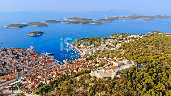 Aerial view of Hvar town with Paklinski islands in background