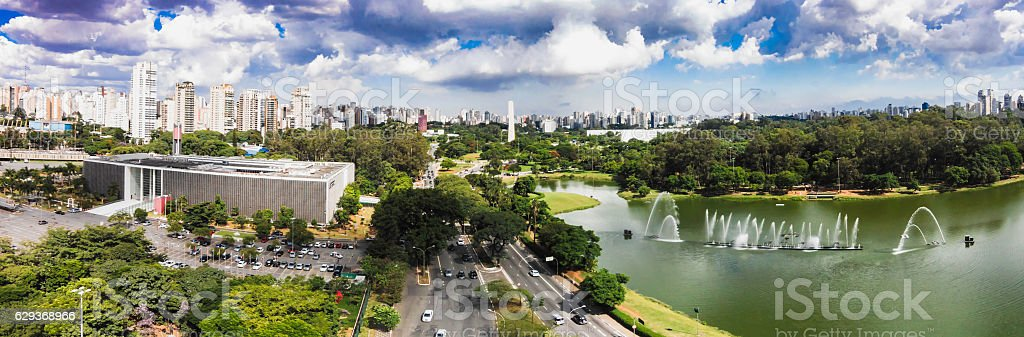 Aerial view of Ibirapuera park at Sao Paulo city stock photo