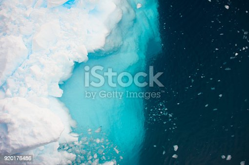 Aerial view of icebergs  in Antarctica