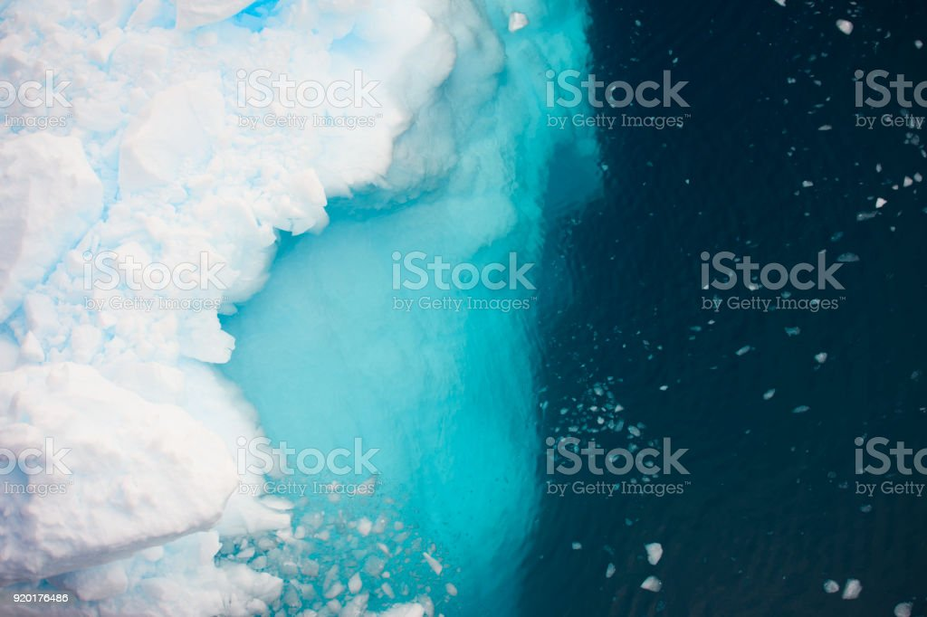Aerial view of icebergs  in Antarctica stock photo