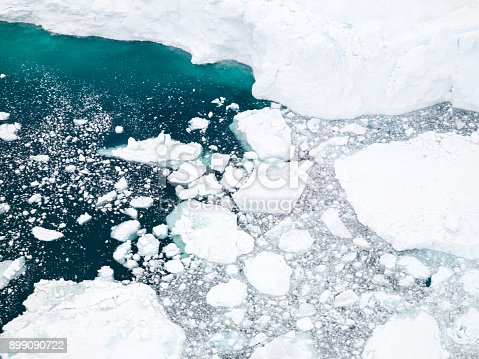 istock Aerial view of icebergs on Arctic Ocean in Greenland 899090722