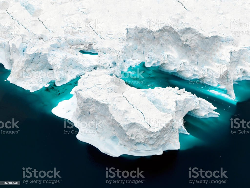 Aerial view of icebergs on Arctic Ocean in Greenland – zdjęcie