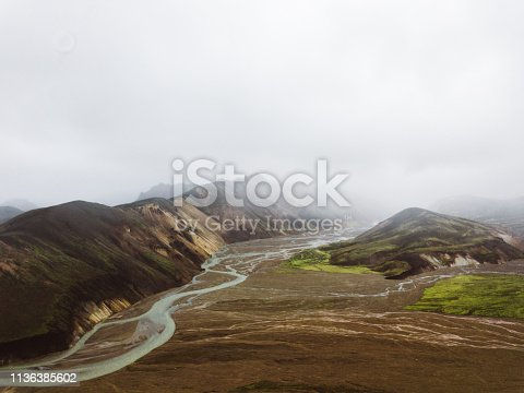 Drone photo of Landmannalaugar valley in the foggy morning in Iceland