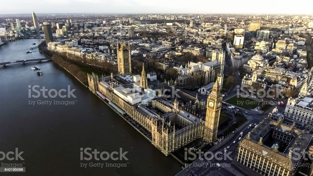 Aerial View of Iconic Landmark London Big Ben Houses of Parliament stock photo
