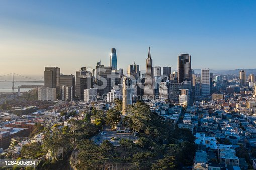 An aerial view on a sunny morning of several of San Francisco's most well known architectural landmarks. A backdrop of the skyscrapers and Bay Bridge behind them.