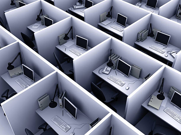 aerial view of identical cubicles with desktop computers - office cubicle stock pictures, royalty-free photos & images