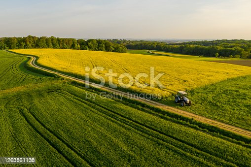 istock Aerial view of idyllic rural landscape with flowering rapeseed field and tractor 1263861138